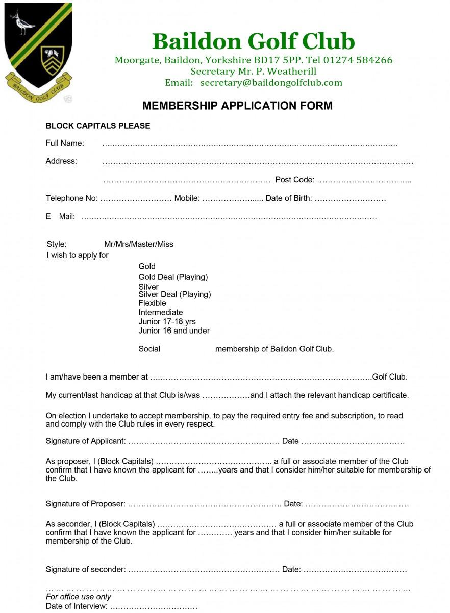 Membership Application Form | Baildon Golf Club :: West Yorkshire
