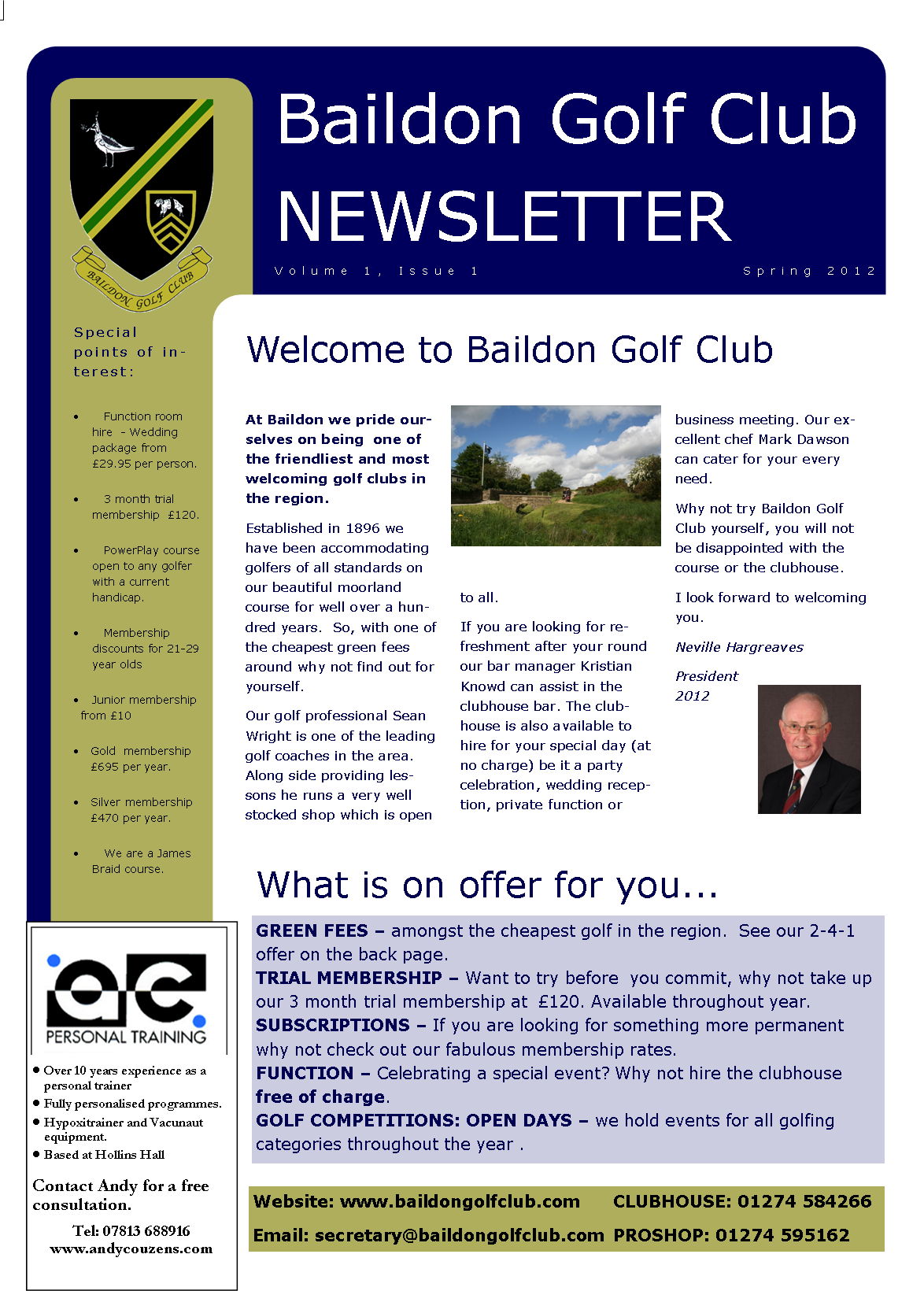 Newsletter Spring 2012 Baildon Golf Club West Yorkshire